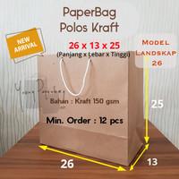 Paperbag / Tas Kertas / Paper Bag Kraft Custom 26 x 13 x 25 Serbaguna