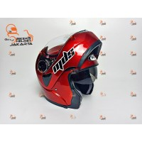 MDS HELM PRO RIDER SOLID RED MAROON DOUBLE VISOR FULL FACE MODULAR