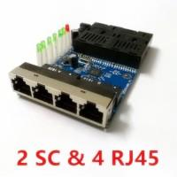 10/100Mbps LED 2 SC 4 RJ45 Ethernet Fiber Switch Optical Fiber Convert - TANPA ADAPTOR