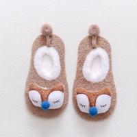 Kaos Kaki Bayi Bulu Halus Import Korea Model Binatang 3D - Cream FOX