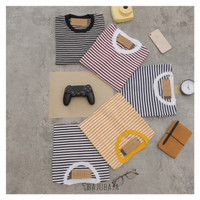 Bajubaja stripe little tshirt / kaos salur belang kecil bahan cotton - Little yellow, S