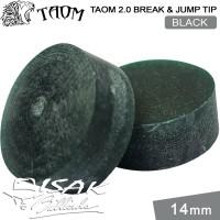 Taom 2.0 Break Jump Tip Black - 14mm Extra Hard Kepala Stick Billiard