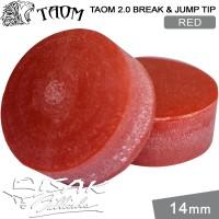 Taom 2.0 Break Jump Tip Red - 14mm Extra Hard Kepala Stick Billiard