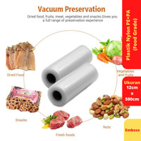 Vacuum Sealer Food Saver Bag, Ukuran 12 cm x 500 cm