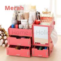 Rak Kosmetik Mini Dengan Cermin Bahan Kayu / Cosmetic Storage Box - Merah