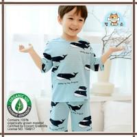 Baju summer anak korea / bahan organik biru paus - 90