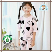 Baju summer korea / baju anak bahan organik love - 100