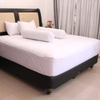 bedcover set polos putih bahan microtex ukuran 100x200x20