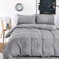Bed Cover Set Lokal Size 160x200x20 polos abu