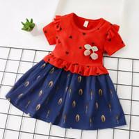 DRESS CASUAL UNTUK BAYI dan ANAK DRESS BAYI IMPORT motif hati - Merah, XL