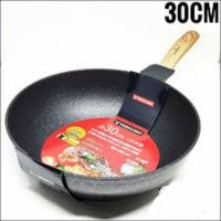 Yoshikawa Panci Frying Wok Fry Pan Marble Teflon 30 cm 30cm Motif Kayu