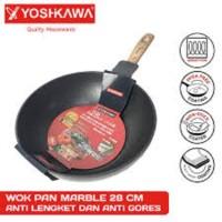 Yoshikawa Panci Frying Wok Fry Pan Marble Teflon 28 cm 28cm Motif Kayu