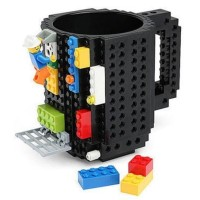 Gelas Mug Lego Build-on Brick - Black