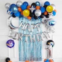 SET Foil Birthday Astronout / Paket Balon Ulang Tahun Astronot - ANGKA 1