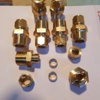 """Male Conector 1/2"""" x 3/8"""" kuningan solid plus Nut dan cincin"""