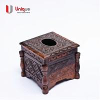 Box Wadah Tissue Kayu Ukiran Bentuk Kotak / Kotak Tissue Kayu Murah