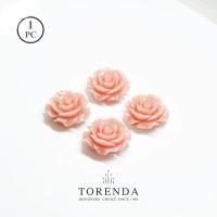 Torenda Jewelry Rose Acrilyc Small Peach (col.6) - Bunga Rose / PCS