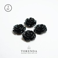 Torenda Jewelry Rose Acrilyc Small Hitam ( col 25 ) - Bunga Rose / PCS
