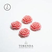 Torenda Jewelry Rose Acrilyc Small Pink (col.9) - Bunga Rose / PCS