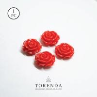 Torenda Jewelry Rose Acrilyc Small Orange (col 14) - Bunga Rose / PCS