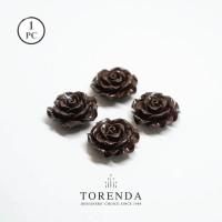 Torenda Jewelry Rose Acrylic Coklat ( col 24 ) - Bunga Rose / PCS