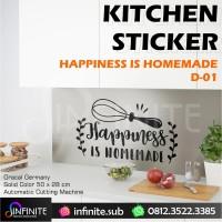 Cutting Sticker Dekorasi Dinding Dapur dll - Happiness is Homemade - D03, Abu-abu