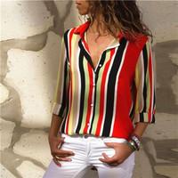 35764 - Geomatry Blouse Baju Atasan Wanita Motif Garis Lengan Panjang
