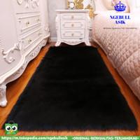Karpet Bulu Rasfur / Tikar Bulu Lembut Halus UK 160x100 Tebal ±5cm - Hitam