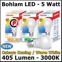 Toshiba Bohlam Lampu LED Cahaya Warna Warm White Kuning 5 Watt 5W