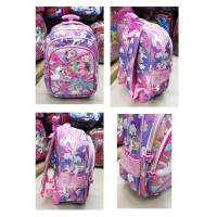Tas Trolley Dorong Anak Perempuan SD UNICORN GLOSSY Timbul 3Res PURPLE