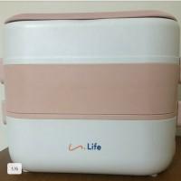 Lunch Box Electric / Rantang Makanan Elektrik Multi Fungsi 2 Susun - Merah Muda