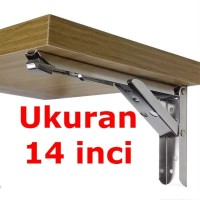 EMPAT BELAS Engsel Siku 14 Inch Stainless Steel Bracket Load 65kg JM07