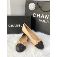 CHANEL BALLERINA FLAT SHOES LAMBSKIN ORIGINAL LEATHER 2TONES