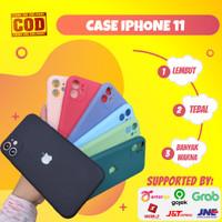 Soft Case iPhone 11 Macaron Logo Apple Dengan Pelindung Lensa Kamera - Biru