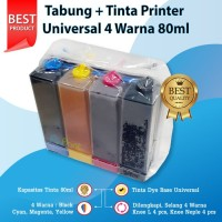 Tabung Infus + Tinta Printer Canon, Epson, Brother, Universal Ink 80ml
