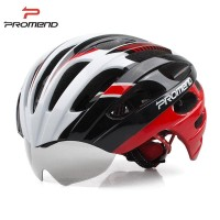 HELM SEPEDA PROMEND TK-12H29 With 3 Goggle Lens - HitamMerahPutih