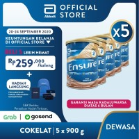 Ensure Coklat 900 g Susu Nutrisi Dewasa Rendah Laktosa - 5 klg
