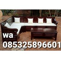 kursi tamu sudut tangan Bagong murah plus jok kayu jati