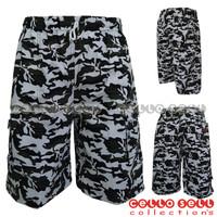 Celana Pendek Super Jumbo Loreng Army - Hijau muda