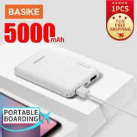 BASIKE PowerBank Dual USB LED Murah Mini 5000mah Fast Charging Korea - PT609 white