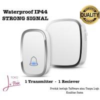 Bel Rumah Anti Air Wireless Door Bell Waterproof Bel Pintu Tanpa Kabel - Putih 1T-1R