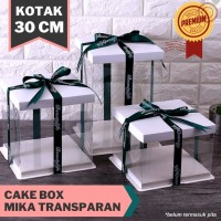 Cake Box Mika Dus Kue Kotak Kue Transparant 30x30 cm 4 Warna - Pink, 30 x 30 x 18 cm