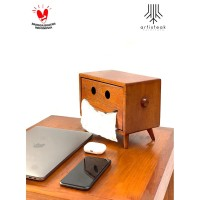 Happy T'Box / Tisu box kayu jati / Tempat tissue / Kotak tisu kayu