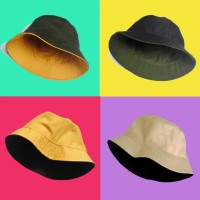 Topi Polos Bucket hat Topi Bolak Balik Korea Pria Dan Wanita 2 Warna - Hitam - Navy