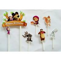 topper hiasan kue cake ulang tahun birthday karakter marsha masha