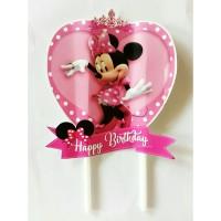 topper tusukan hiasan kue cake tart ulang tahun karakter minnie mouse