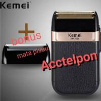 Original Alat Cukur Jenggot Kumis Botak km 2024 USB Shaver Kemei