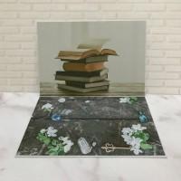 Alas Foto 3D Background Foto 3D A3 motif buku , handcraft bunga lily
