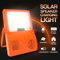 Lampu Solar Emergency Sorot Malam Speaker Matahari Powerbank 4800mAh - Orange