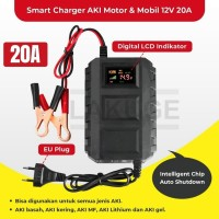 Charger Aki Mobil Motor 12V 20A Smart Intelligent Chip LCD Indicator